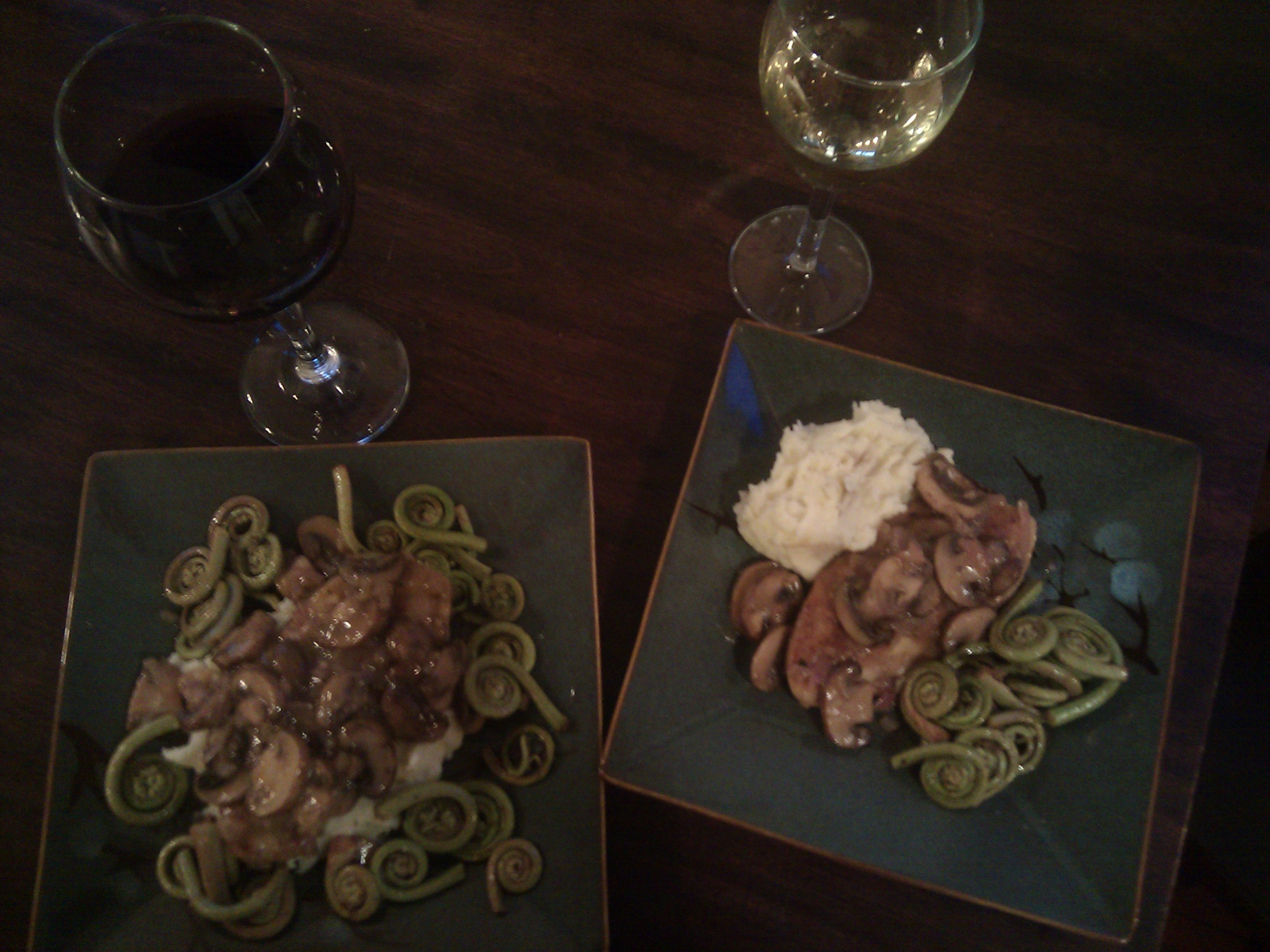 Chik'n Marsala, Garlic Mashed Potatoes and Fiddlehead Ferns